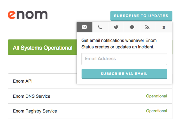 showing the new enom status page